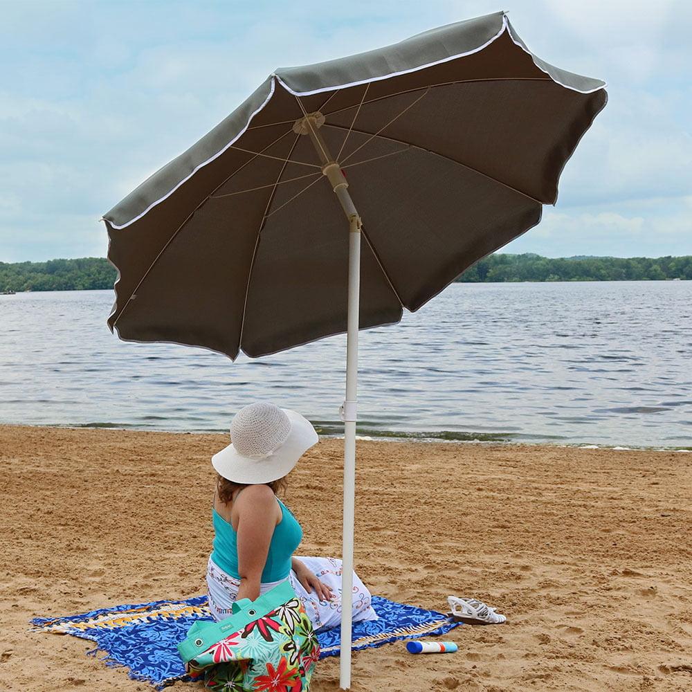 Sunnydaze 5 Foot Outdoor Beach Umbrella with Tilt Function, Portable, Red by Sunnydaze Decor