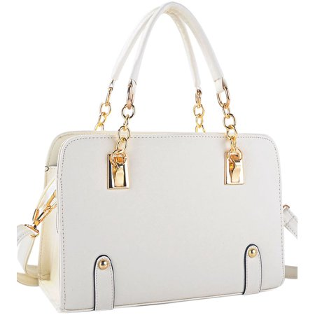 Coofit Womens Faux Leather Handbag With Removable Shoulder Strap Chain Top Handle Bag Cross Body Bag White
