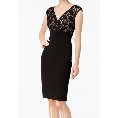 Connected Apparel NEW Black Nude Womens Size 6 Sequin Lace Sheath