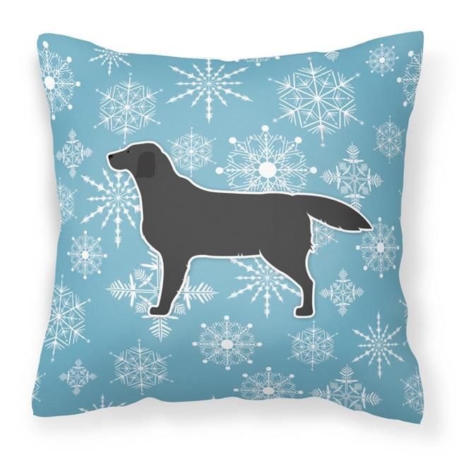 Carolines Treasures BB3508PW1818 Winter Snowflake Black Labrador Retriever Fabric Decorative Pillow - image 1 de 1