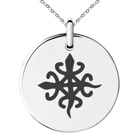 Family Unity Medallion - Stainless Steel Aztec Unity Rune Engraved Small Medallion Circle Charm Pendant Necklace