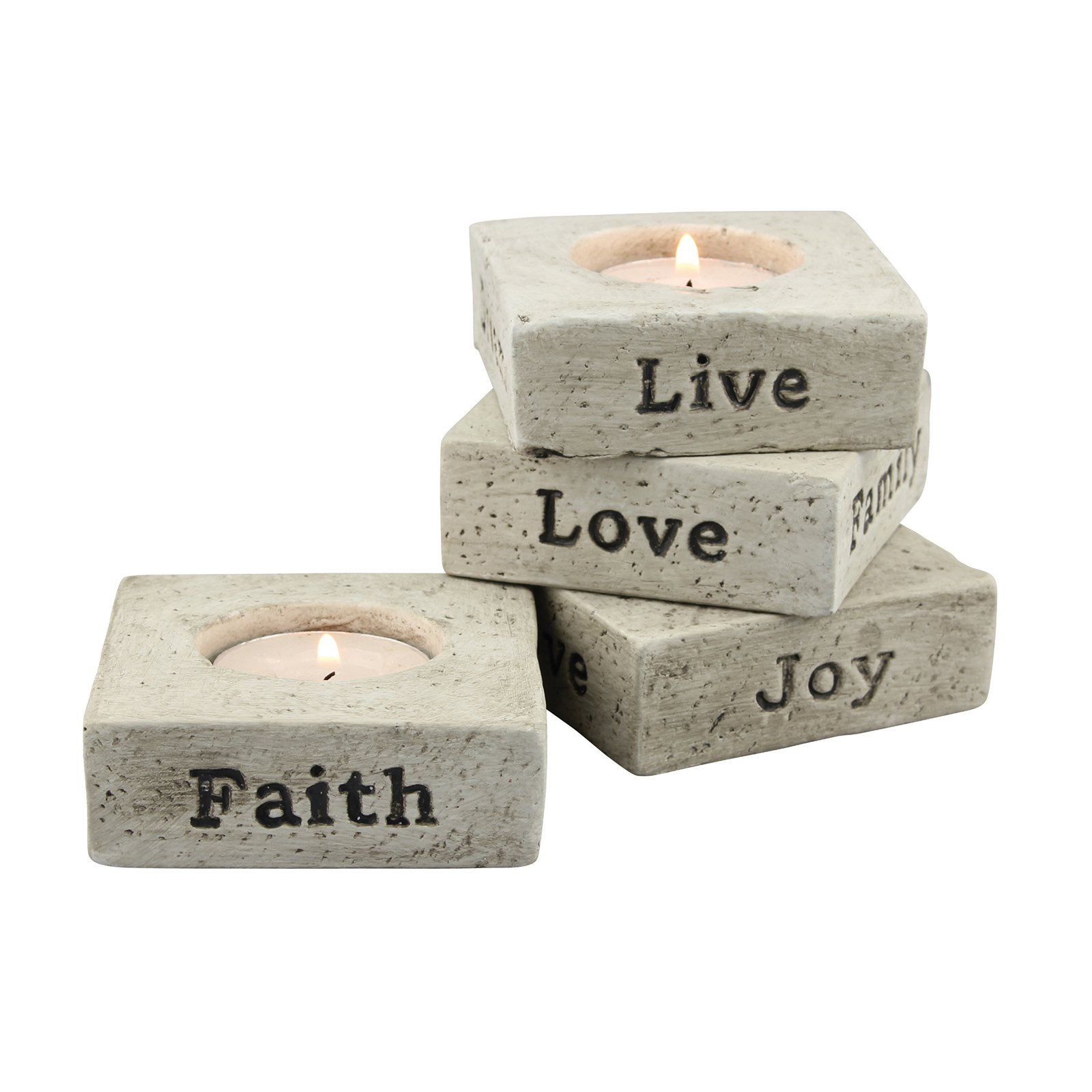 Stonebriar Collection Set of 4 Cement Tealight Holders with Sentiment