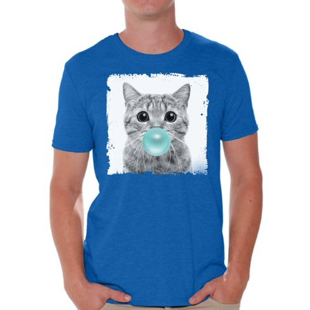 Awkward Styles Cat Blow Blue Gum T Shirt Cat Clothing Animal T-Shirt for Men Funny Animal Gifts Cat T Shirt Cute Animal T Shirt Funny Cat Shirt Gifts for Him Funny Men T Shirt Little Cat Tshirt - Cute Little Clothes Coupon