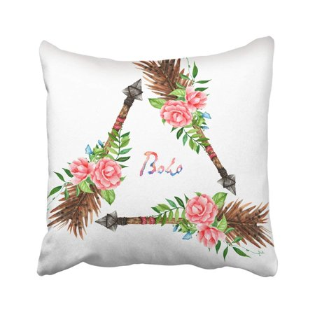 WOPOP Aztec Boho Style Arrows Watercolor White Hippie Design Decorated With Flowers Pillowcase Pillow Cover 16x16 - Hippie Home Decorating Ideas