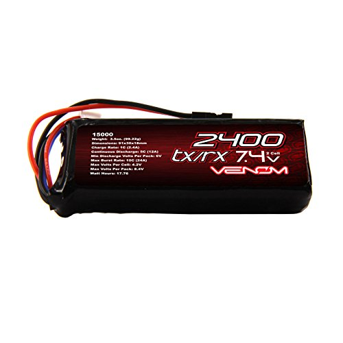 Venom 5C 2S 2400mAh 7.4 Receiver/Transmitter Flat Pack LiPO Battery
