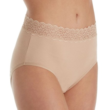 Women's Vanity Fair 13396 Flattering Lace Cotton Stretch Brief (Flattering Silhouette)