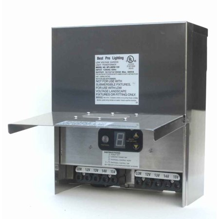 600W Stainless Steel Multi Tap 12,13,14,15 Volt Landscape Lighting Transformer