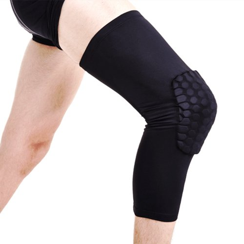 Topeakmart Antislip Basketball Leg Knee Long Sleeve Honeycomb Pad Protector Gear M Size