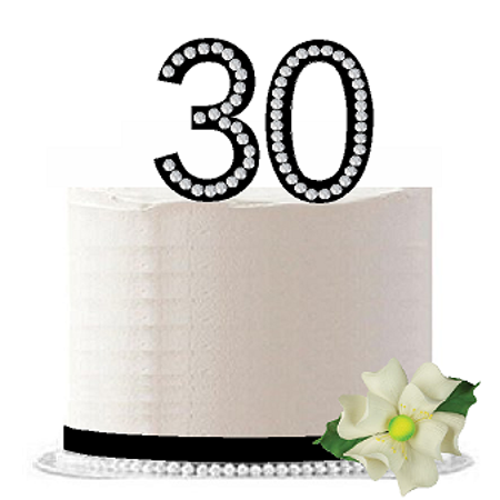 30th Birthday / Anniversary Rhinestone Bling Sparkle Cake Decoration Topper -Black - 30th Anniversary Decorations