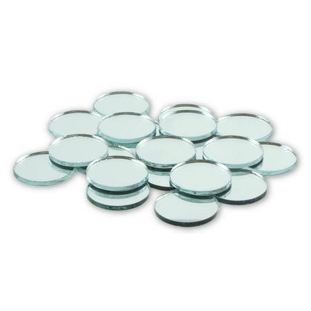 1 inch Glass Craft Mini Round Mirrors Bulk 100 Pieces Mirror Mosaic (Mini Metallic Glass Tiles)