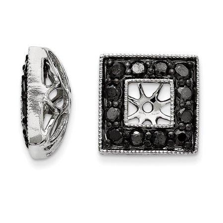 14K White Gold Black Diamond Square Jacket Earrings - image 2 of 2