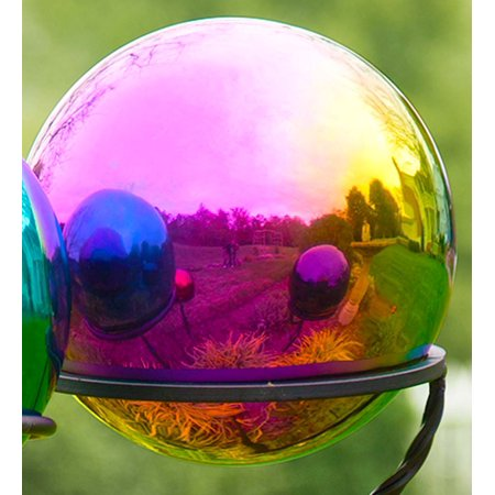 Stainless Steel Gazing Ball Garden Decor, Rainbow ()