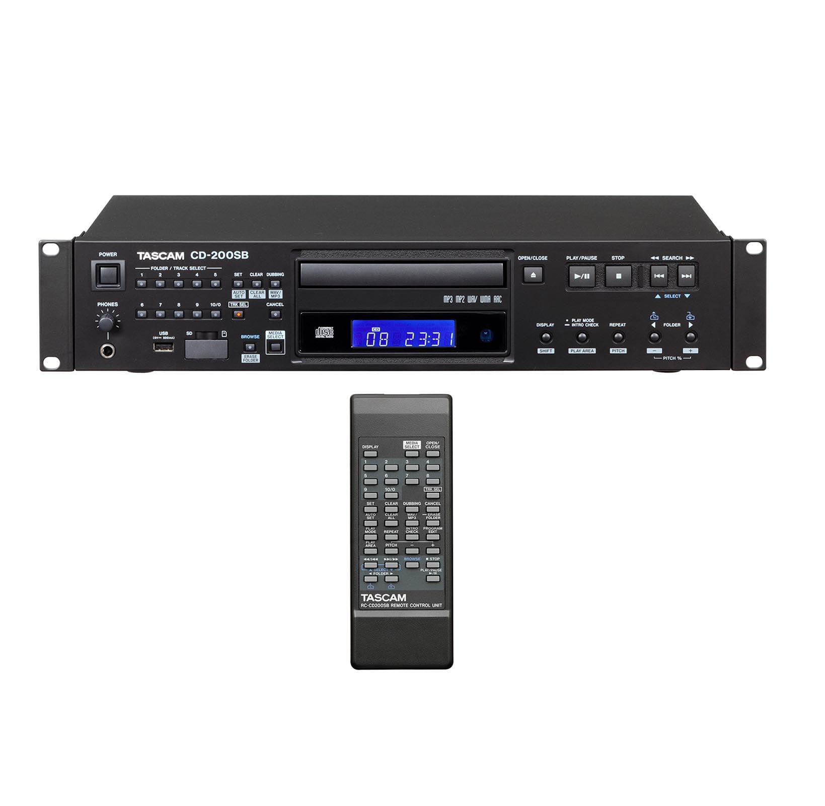TASCAM CD-200SB Single SD SDHC, USB & CD Professional 2U Rackmountable Player by Tascam
