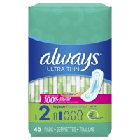 Always Ultra Thin Pads, Unscented, Size 2, 40 count
