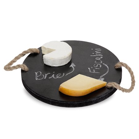 Round Wooden Cheese Board with Rope Handles 10in ()