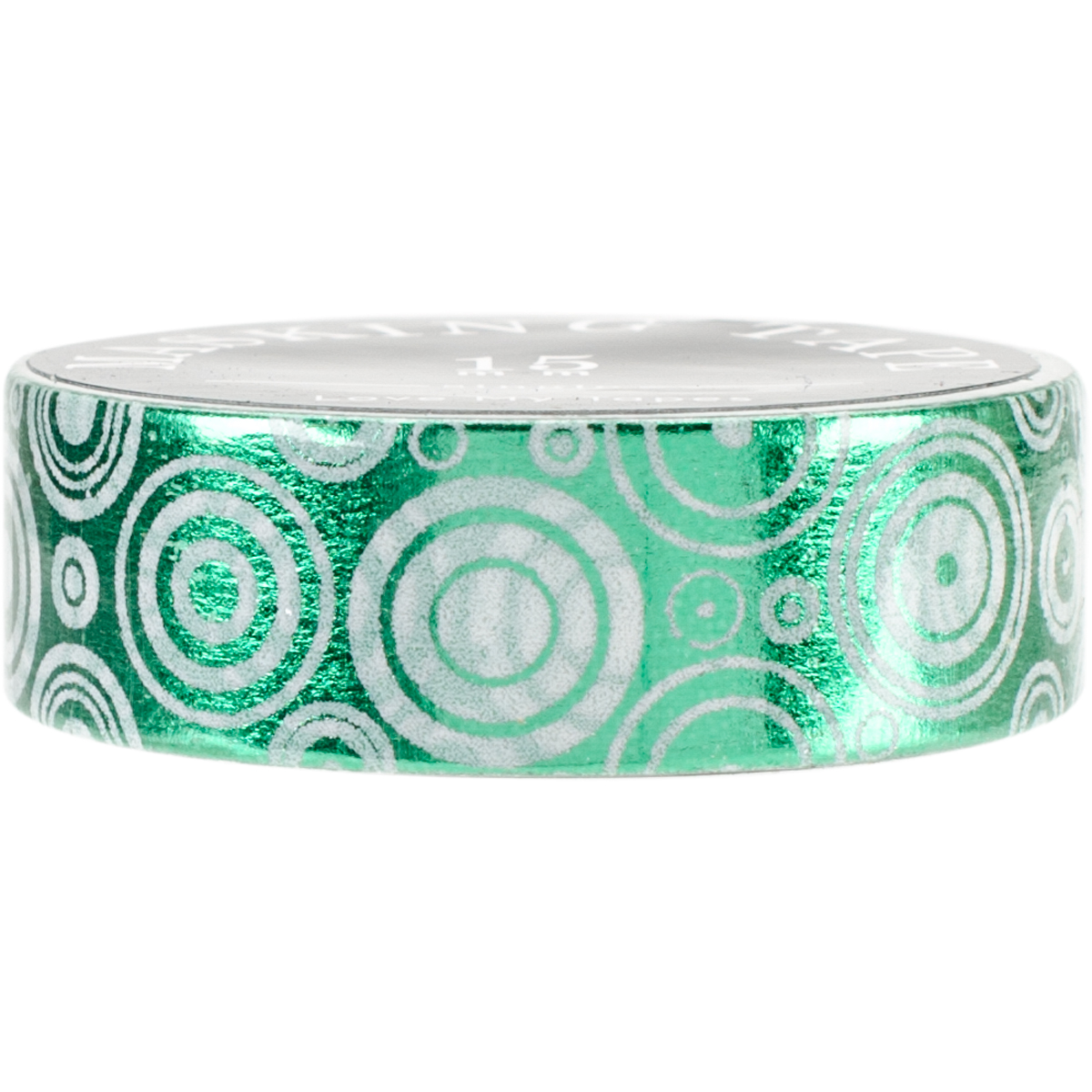 Love My Tapes Foil Washi Tape 15mmx10m-Green White Geometric