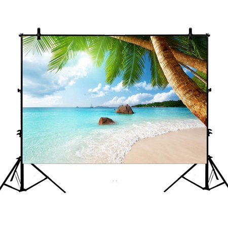 YKCG 7x5ft Beach Palm Tree Coast of Beach Nature Island Coconu Tree Photography Backdrops Polyester Photography Props Studio Photo Booth Props
