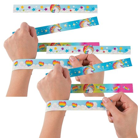Unicorn Metal Slap Bracelets - 12 Pieces