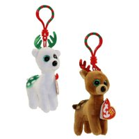 893b559cc0d Product Image Ty Beanie Boos 2017 (Tinsel   Peppermint) Christmas Reindeer  Holiday Clip With Glitter Eyes
