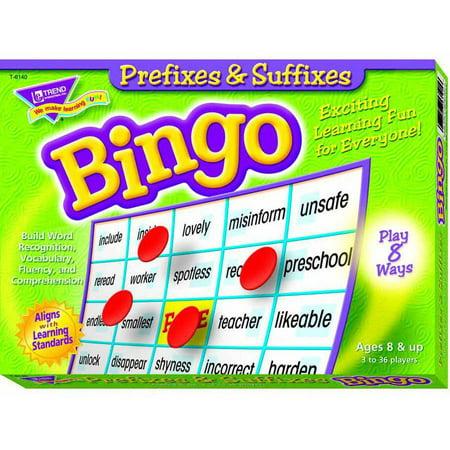 Prefixes and Suffixes Bingo - Prefix Game