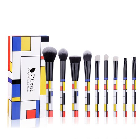 DUcare Makeup Brushes Set 9 Pcs Red Blue and Yellow Professional Essential Kit