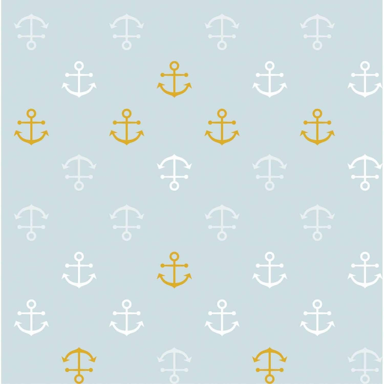RTC Fabric Blue Anchor 70% Bamboo Rayon, 30% Cotton, Quilting fabric,Apparel fabric, Home Decor fabric,42'', 180GSM