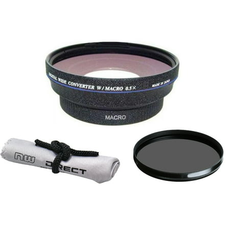 0.5x Wide Angle Lens With Macro + 67mm Circular Polarizing Filter For Canon EF-S 24mm f/2.8 STM HD (High