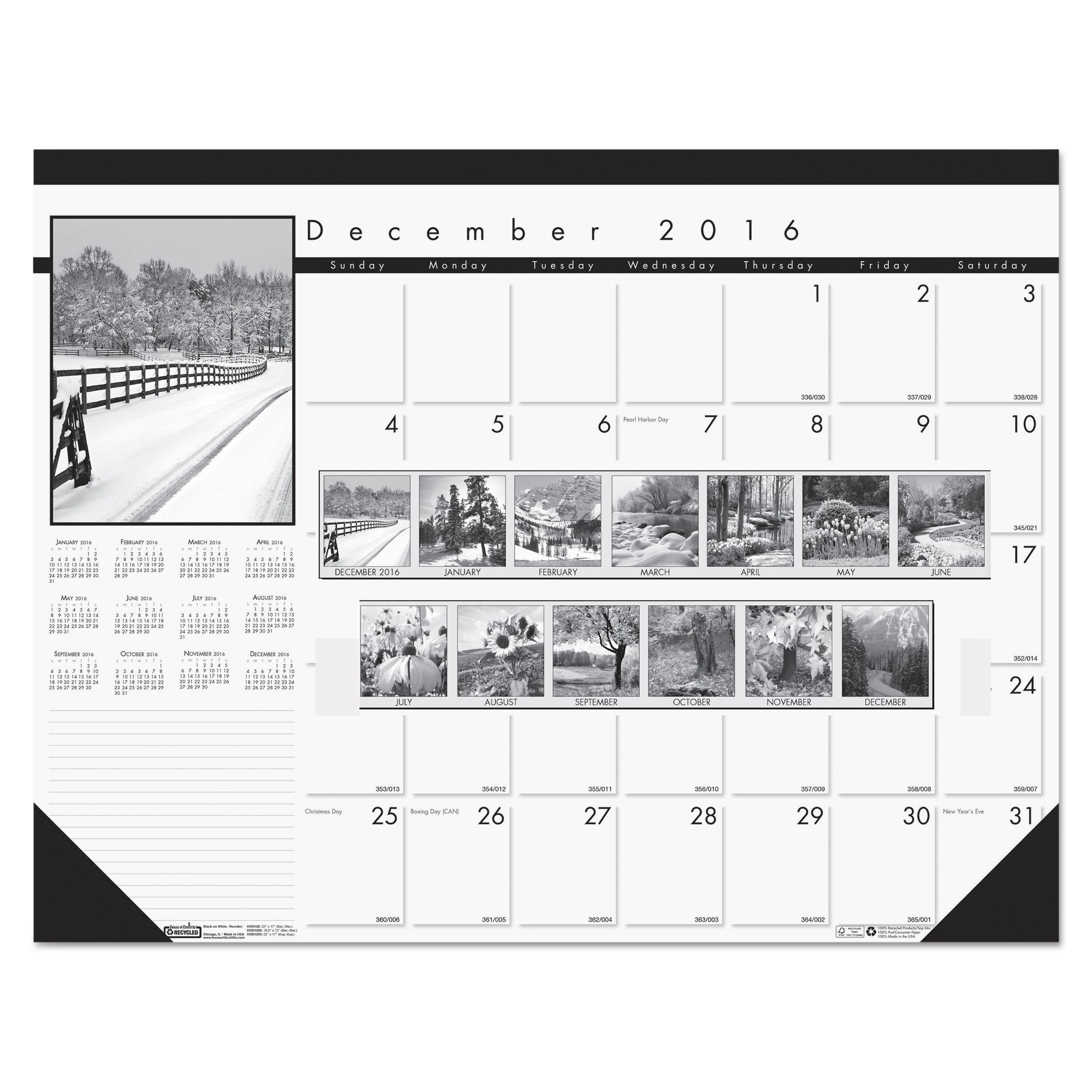 House of Doolittle Recycled Black-and-White Photo Monthly Desk Pad Calendar, 22 x 17, 2017-2018