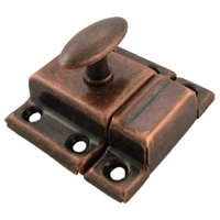 Antique Copper Plated Stamped Steel Cabinet Latch - Small - Antique Furniture Restoration Hardware - BI-15AAC