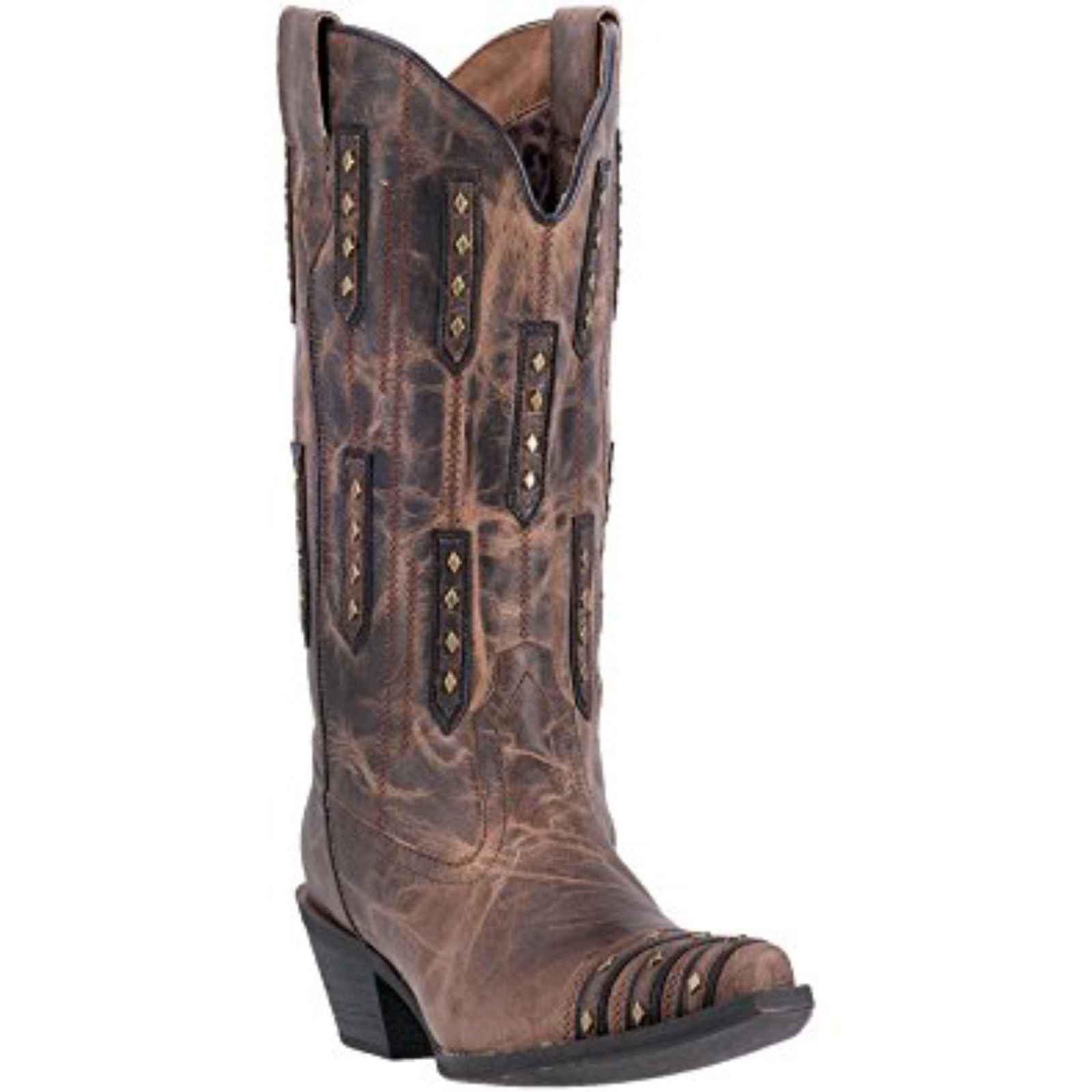 "Laredo Women's 12"" Leather Whiskey Sour Bone Boot Brown, 52124 by DAN POST"
