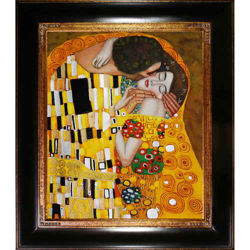 Wildon Home  The Kiss by Gustav Klimt Framed Original Painting
