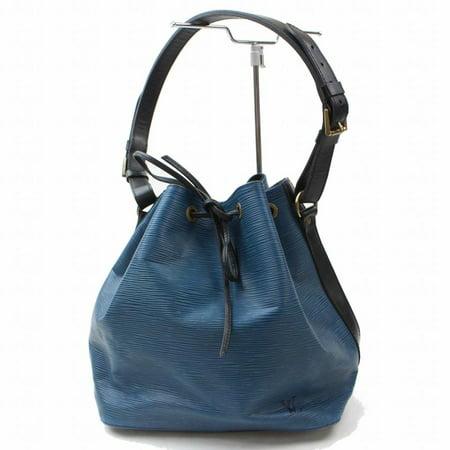Bucket Bicolor Black and Epi Petit Noe Drawstring Hobo 868943 Blue Leather Shoulder Bag