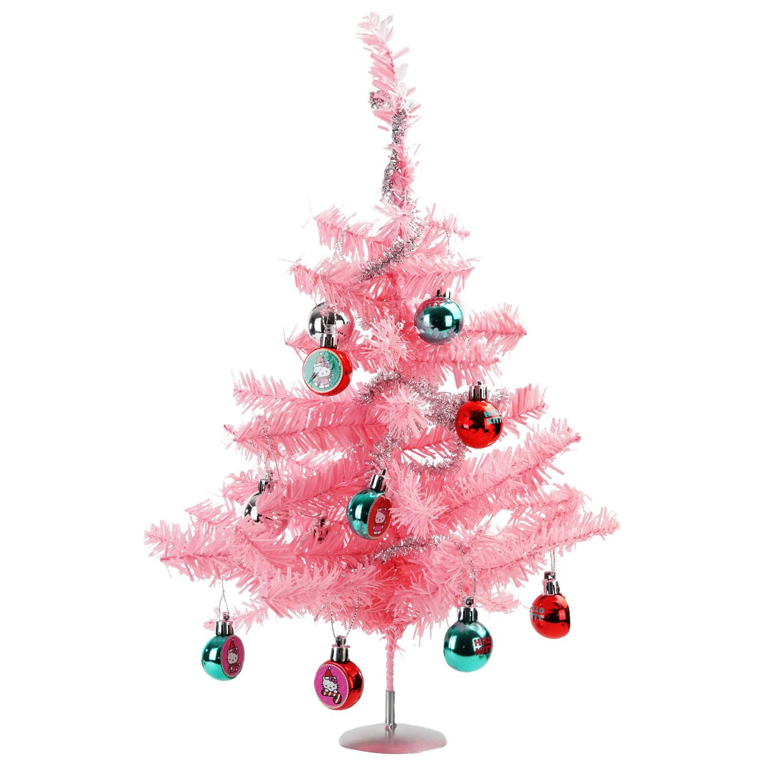 "15"" Hello Kitty Tinsel Christmas Tree Set Including Tree Garland and Ornaments Walmart"