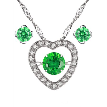 Devuggo 925 Sterling Silver Simulated Emerald Dancing Heart Pendant Necklace and Earrings 3 Pieces Jewelry Set ()