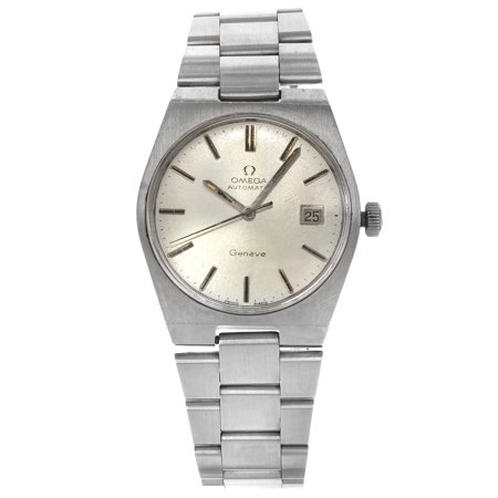 Pre-Owned Omega Geneve Silver Sticks Tonneau Dial Steel Automatic Mens Watch ref (Winding Omega Watch)