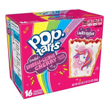 (2 pack) Kellogg's Pop-Tarts Frosted Sparkle-Licious Cherry Toaster Pastries Unicorn Limited Edition 29.3oz 16 Ct](Easy Halloween Pastries)