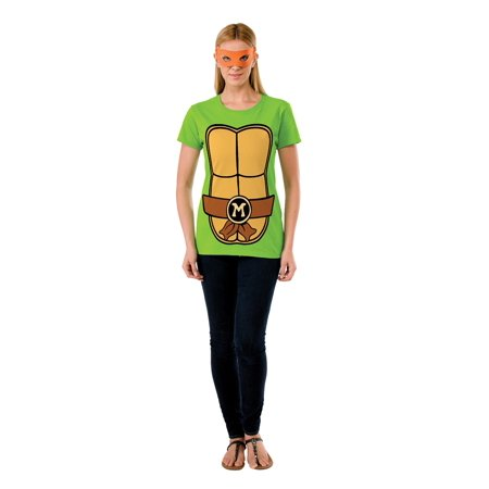 TMNT MICHELANGELO ADULT WOMENS T-SHIRT & MASK SET](Tmnt Masks)