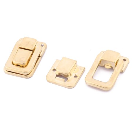 39mmx27mmx9mm Toolbox Case Iron Box Toggle Latch Hasp Lock Gold Tone 10 PCS - image 2 of 4