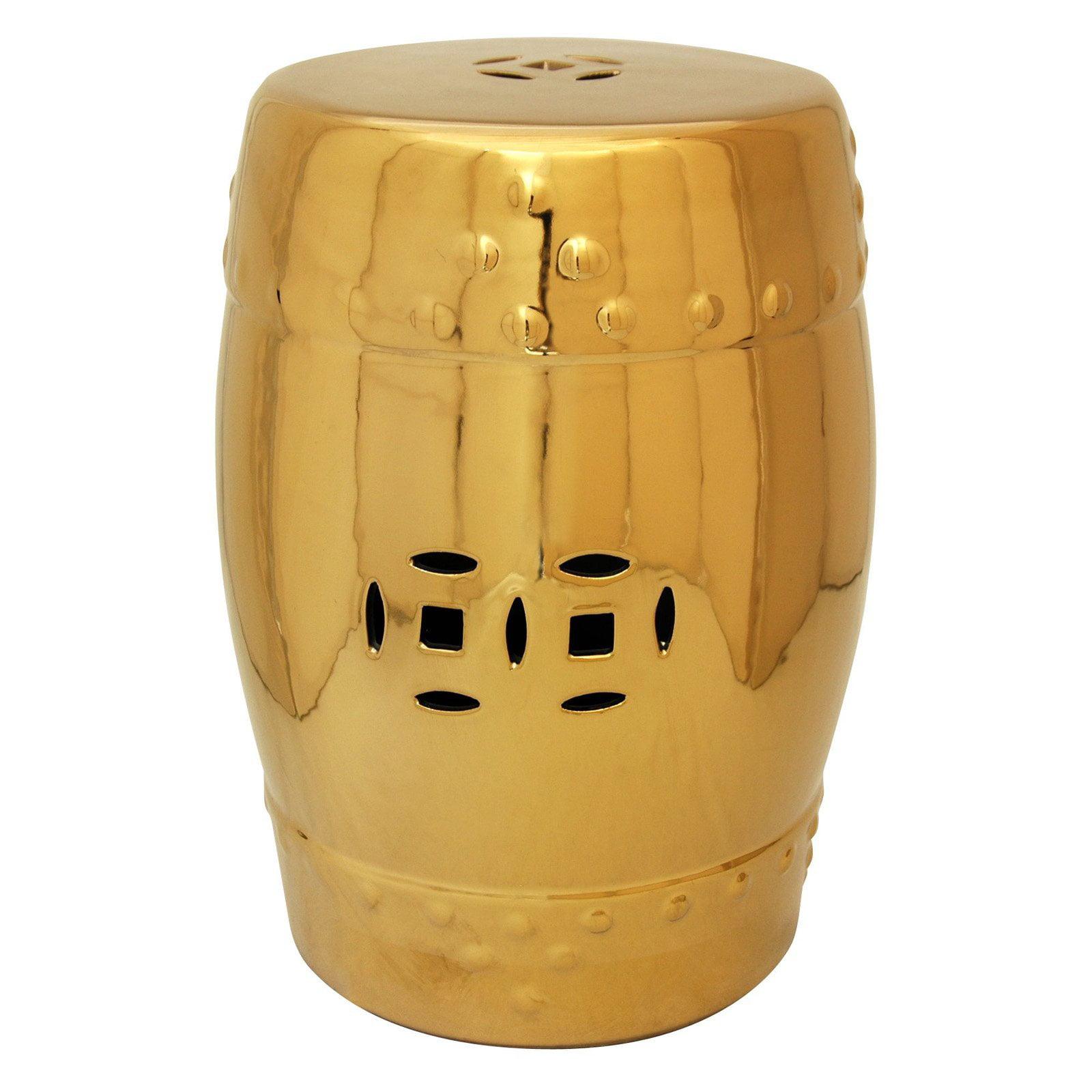 Oriental Furniture Solid Gold Porcelain 18 in. Garden Stool