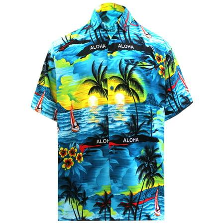 - Hawaiian Shirt Mens Beach Aloha Camp Party Holiday Button Down Pocket Scenic Print C