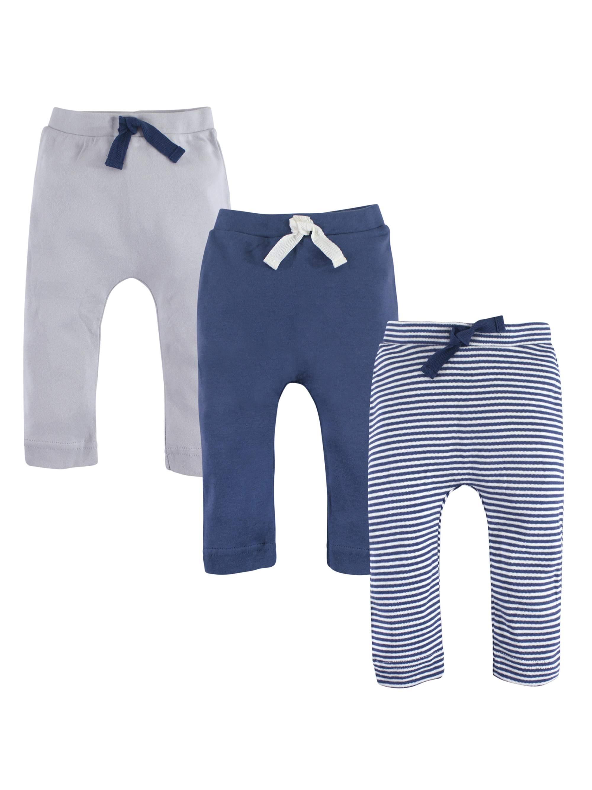 Oatmeal//Navy Touched By Nature Boy Baby Organic Cotton Pants 3-Pack