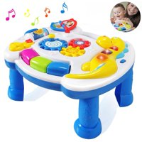 HOMOFY Homof Baby Toys Musical Learning Table 6 Months Up-Early Education Music Activity Center Game Table Toddlers, Infant, Kids Toys for 1 2 3 Years Old Boys & Girls- Lighting &