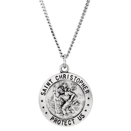 Bella Grace Jewelry Collection Sterling Silver 18mm Round St. Christopher U.S. Coast Guard Medal 18