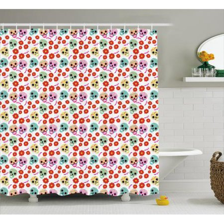 Sugar Skull Shower Curtain, Day of the Dead Holiday in Mexico Theme with Skulls and Poppies Pattern Print, Fabric Bathroom Set with Hooks, 69W X 70L Inches, Multicolor, by Ambesonne