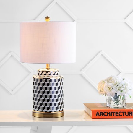 Ellie 24.5u0022 Tumbling Block Ceramic/Metal LED Table Lamp, Black/White by JONATHAN Y