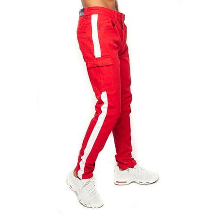 Skinny Railroad Stripe (Mens Dope Hipster Comfort Stretch Side Stripe Cargo Skinny Pants)