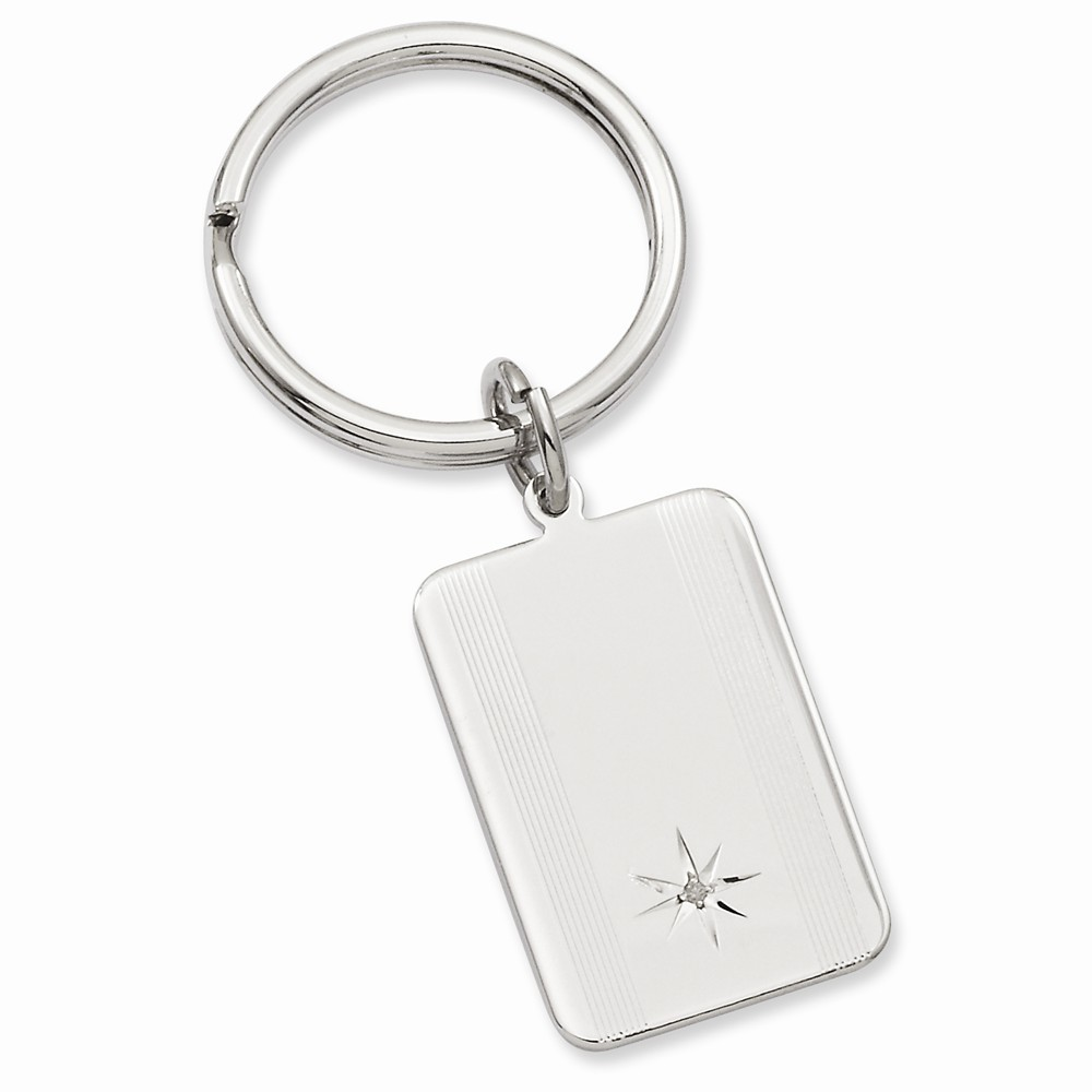 Rhodium-plated Star Cut .001ct. Diamond Key Ring by