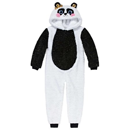 Panda Suits (Toddler Girls White Sparkle Panda Bear Blanket Sleeper Pajamas Union Suit)