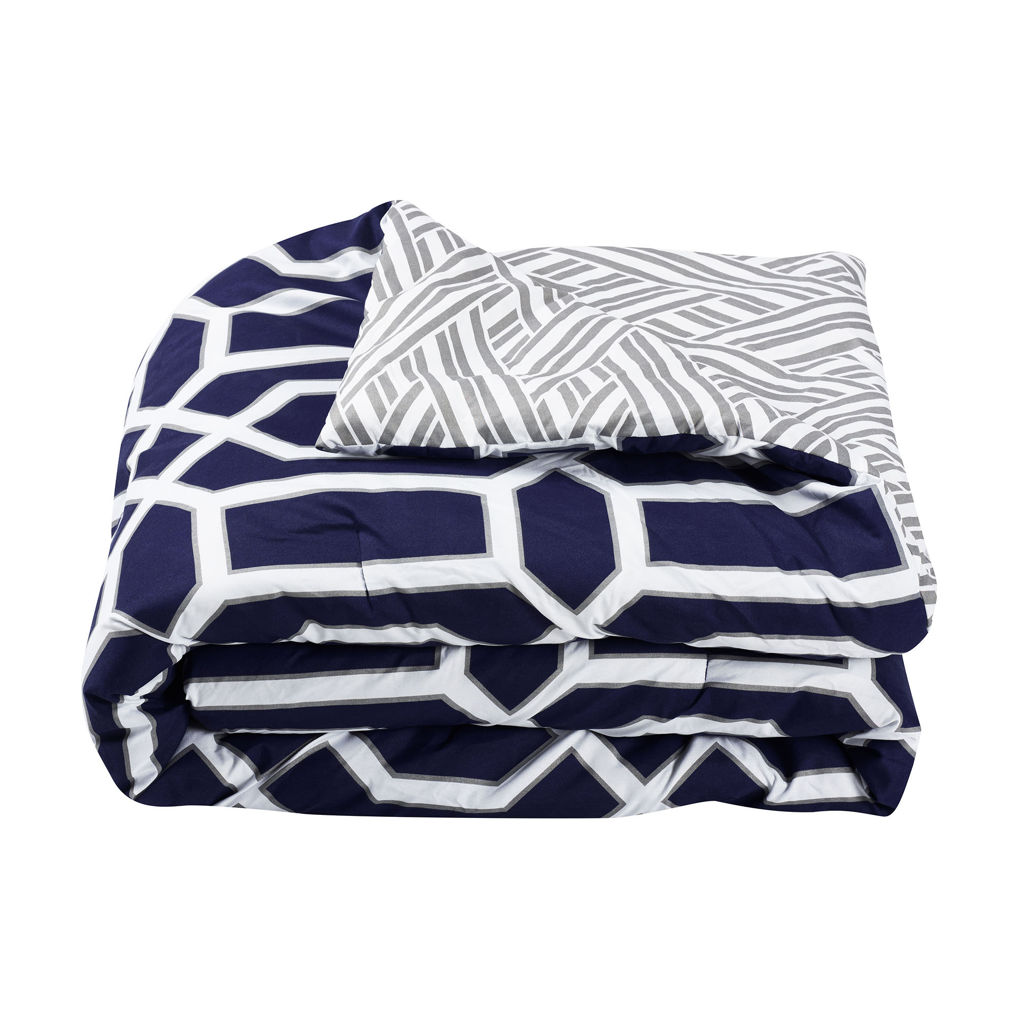 Boho Living Runa 5 Piece Reversible Comforter Set Full Queen Navy Grey White Comforter Sets