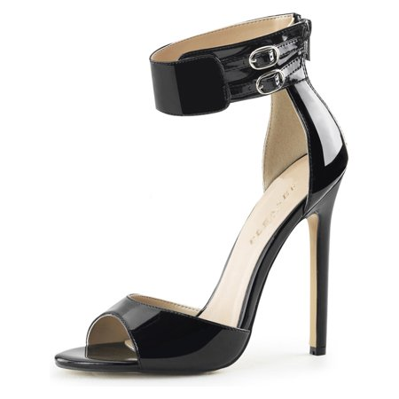 Black Open Toe Ankle Strap - Womens Black Heels with Ankle Strap Stiletto Sandal Open Toe Shoes 5 Inch Heels